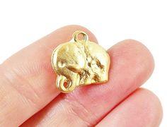 6 Rustic Cast Elephant Charms  22k Matte Gold by LylaSupplies, $5.30