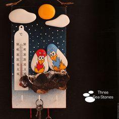 Подвески ручной работы. Ярмарка Мастеров - ручная работа. Купить Ключница-панно #40. Handmade. Зима, подарок, галька, любовь