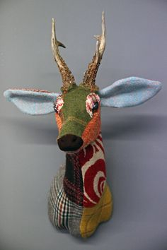 PRESENT: Patchwork Tweed Roe Deer Head by Carola van Dyke. Cute! (Rockett St George, 2012)