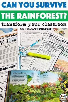 Using this Rainforest Project Based Learning in your classroom is the perfect way to have your students incorporate reading, writing, science, math, critical thinking, and problem solving skills in a fun, real-life context.  As your 3rd Grade, 4th Grade, and 5th Grade students work to survive in the rainforest, they will need to plan and budget, design a shelter, design a water filtration device, plan for animal and insect encounters, build a compass AND SO MUCH MORE!