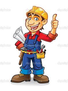 Cartoon Construction Worker Clip Art | Construction worker - Stock Illustration