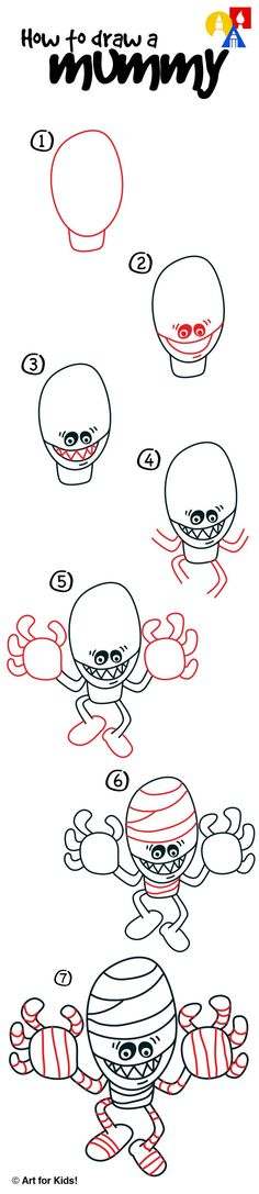 How to draw a mummy for Halloween!