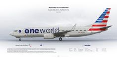 Boeing 737-800 American Airlines N837NN | www.aviaposter.com | Civil aircraft art print | #scetch #art #airliners #aviation #aviaposter #jetliner