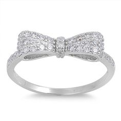 Cute 925 Sterling Silver 0.20 Carat Round pave Russian Iced Out Diamond CZ Ribbon Bow Ring fashion Gift