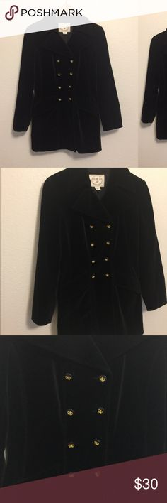 Black Wathne velvet jacket Beautiful and in excellent condition black velvet jacket.  It does not have a size but I would say is a 12 or a Large because that is my size and it fits me. Wathne Jackets & Coats Blazers
