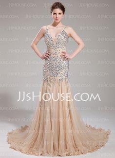 Sheath V-neck Chapel Train Tulle Prom Dress With Beading (018018993)