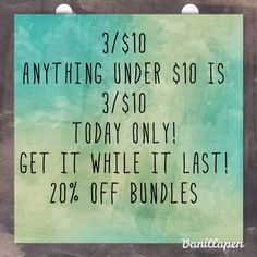 3/$10 TODAY ONLY! Same Day Shipping✈️ Read description on picture. Comment on items to be bundled! 20% of bundles of 3+ items! TODAY ONLY! Anything UNDER $10 is 3/$10 Accessories