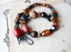 25 DOLLAR SALE - Beaded Necklace - Rustic Chunky Choker - Rust, Gold - Stone, Wood, Shell - Rich Neutrals - Rustic Assemblage Necklace