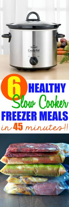 In just 45 minutes you can prepare 6 Healthy Slow Cooker Freezer Meals to keep on hand for those nights when you need them most! Best of all, these easy dump-and-go Crock Pot dinners require almost NO prep work!
