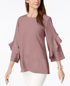 a47d750f65c3fc Alfani Bell-Sleeve Handkerchief-Hem Top