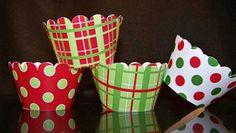 Quantity of 12 Cupcake Wrapper Christmas Fun CW501 Scallop Edge  Birthday Bridal or Baby Shower Weddings. $7.50, via Etsy.