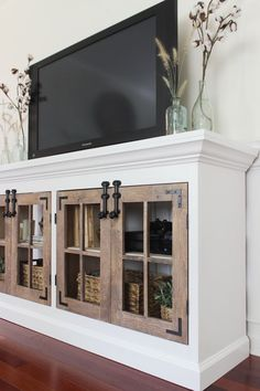 Ana White Build a Farmhouse Media Cabinet Featuring Shades of Blue Interiors Free and Easy DIY Project and Furniture Plans Farmhouse Media Cabinets, Farmhouse Furniture, Home Furniture, Furniture Design, Farmhouse Decor, Kitchen Cabinets, Farmhouse Style, White Cabinets, Furniture Ideas