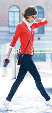 I have a thing for red, white, and black (I'd replace those blue pants with black)