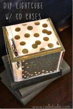 diy light cube made from cd cases and Christmas lights! so cool!
