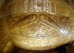 """Temple of Hathor wall, image commonly referred to as """"Dendera Bulb"""""""