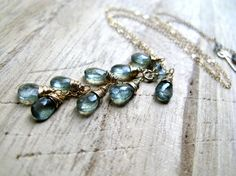 Moss Aquamarine Necklace In 14K Gold Fill