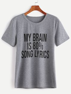Shop Heather Grey Slogan Print T-shirt online. SheIn offers Heather Grey Slogan Print T-shirt & more to fit your fashionable needs.