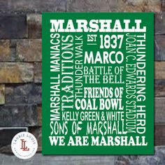 Marshall University Subway Art Dorm Print by LaurieLouisShop Marshall University, West Virginia University, Subway Art, Take Me Home, School Spirit, My Father, Dorm, Growing Up, House Divided