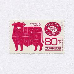 Exports: Cattle (80¢). Mexico, 1975-1982 (The Ground Issue). Design: Rafael Davidson. #mnh #graphilately