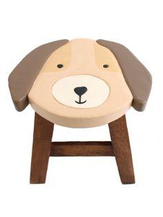 Monkey Pod Wood Handpainted Children's Stool / Chair - Dog