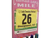 race bibs holder with 5 medals hooks by runningonthewall on Etsy
