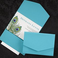 Peacock Feather Pocket - Invitation discounted at Quaint Wedding Stationery. Peacock Wedding Invitations, Pocket Wedding Invitations, Elegant Invitations, Wedding Invitation Design, Wedding Stationery, Pocket Invitation, Invitation Set, Craft Wedding, Our Wedding