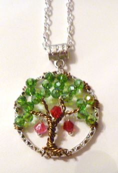 Mother Grandmother Green Crystal Beaded Tree of Life Necklace w Birthstone Beads…