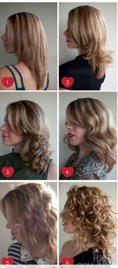 Who knew there were 6 different ways to dry your hair! Straight, flip, soft curls, smooth curls, messy waves, and curly.