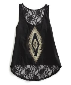Another great find on #zulily! Black Lace-Back Tank #zulilyfinds