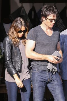 Ian Somerhalder and Nikki Reed leave a store after going shopping for leather goods together on Thursday afternoon (October 9) in Venice, Calif.