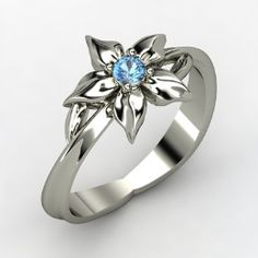 Star Flower Ring, Sterling Silver Ring with Blue Topaz from Gemvara