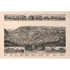 Historic Map of Harriman Tennessee 1892 Roane County Canvas Art - (18 x 24)