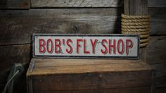 Custom Fishing Fly Shop Sign - Rustic Hand Made Vintage Wooden Sign ENS1000455