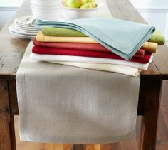 PB Classic Linen Table Runner | Pottery Barn - The new kitchen table Tim made needs something fabric on it. I love the look of these linen runners. $78.15