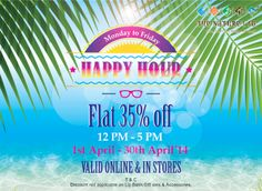 Summer heat keeping u indoors…we have a perfect way to cool you off!! 35% off from 12 noon −5 pm entire April in-store as well as online on www.thenaturesco.com  Happy Summer Happy Hours!!