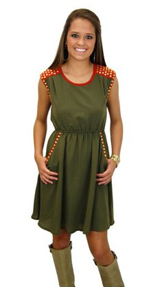 #shopbluedoor  This cute dress needs to come live in my closet. I love the studs.. It would look so cute with my studded boots!