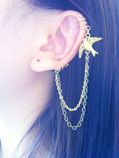 Stylish flying bird gold and brass double ear cuff chain earrings no piercing required double piercing