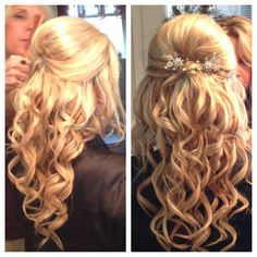 this would be a simple and pretty wedding hairstyle!! But my hair wont be quite this long...nor will it probably hold a curl too well