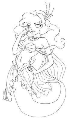 Fancy Ariel-lineart by ~ESV on deviantART