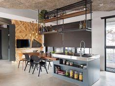 Small Kitchen Diner, Kitchen Dining, Kitchen Decor, Industrial Kitchen Design, Kitchen Interior, Home Interior Design, Kitchen Island Lighting, New Home Designs, Kitchen Shelves