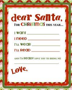 dear santa printable letter : Want, Need, Wear, Read!