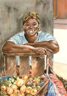 Painting Painting - Jamaican Fruit Seller by John Clark Jamaican Art, John Clark, Acrylic Painting Lessons, Watercolor Painting, Haitian Art, Clark Art, Caribbean Art, Africa Art, Black Artwork