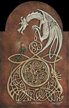 Celtic Dragon Cast Paper by Kevin Dyer….this would be cool as a tatoo with a celtic cross…. Celtic Symbols, Celtic Art, Celtic Knots, Celtic Fantasy Art, Celtic Music, Magical Creatures, Fantasy Creatures, Art Ancien, Dragons