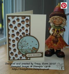 Thanksgiving card created using the Happy Scenes Stamp Set and Into the Woods Designer Series Paper (DSP) from Stampin' Up!  http://tracyelsom.stampinup.net