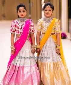 Viranica and Vishnu Daughters in Silver Half Sarees Kids Party Wear Dresses, Kids Dress Wear, Kids Gown, Dresses Kids Girl, Lehenga Designs, Half Saree Designs, Kids Saree, Kids Lehenga Choli, Kids Lehanga Design