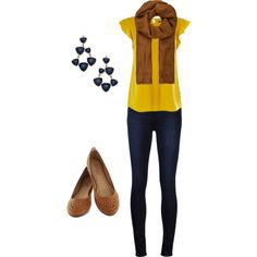 """""""Yellow, Brown, and Navy Women's Outfit"""" by jessicaschmidt on Polyvore"""