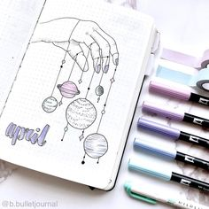 Bullet journal monthly cover page, April cover page, hand lettering, universe ha. Bullet journal m April Bullet Journal, Bullet Journal Cover Page, Bullet Journal Writing, Bullet Journal Themes, Bullet Journal Spread, Bullet Journal Layout, Bullet Journal Inspiration, Journal Ideas, Bullet Journal Aesthetic