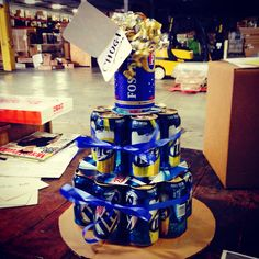 Beer can birthday cake. Easy to make. I used a 18 pack, ribbon and top it off with a Fosters haha Birthday Beer, Birthday Cake, Soda Can Cakes, Cake In A Can, Couple Ideas, Diaper Cakes, The Fosters, Liquor, Our Wedding