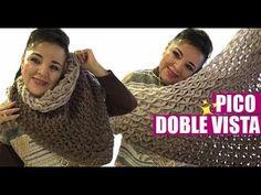 CÓMO TEJER ESTE PICO REVERSIBLE - FÁCIL Y RÁPIDO - YO TEJO CON LAURA CEPEDA - YouTube Crochet Shawl, Sweater, Beautiful, Cape Clothing, Hand Knitting, Scarves, Ponchos, Crochet Poncho, Jumper