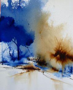 Madone Simard - L'aquarelle liquide offre des paramètres infinis. L'utiliser en peignant sans contact, est tout un défi. Les résultats sont magiques et remplis de merveilleuses surprises. Dans cette aquarelle, j'ai utilisé un pinceau traînard 2 poils pour affiner les branches. Son titre : Épurée.